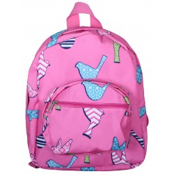 NB5-26-P Pink Background Multi Bird Print Mini Backpack