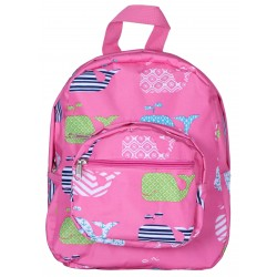 NB5-27-P Pink Background Multi Whale Print Mini Backpack