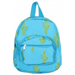NB5-28-TO Turquoise Background Green Cactus Print Mini Backpack