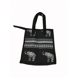 NCC18- ELE-BW  Black White Elephant Pattern Insulated Lunch Tote Bag
