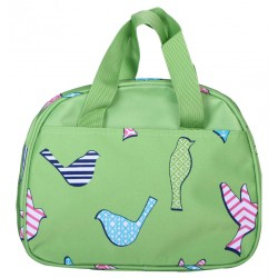 NC20-26-G Around Green Background Multi Bird Pattern Insulate Lunch Bag