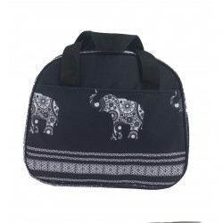 NC20-ELE-BW Around Black White Background Elephant Pattern Lunch Bag