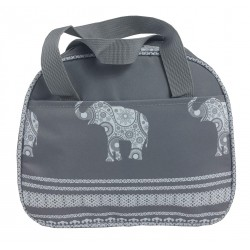 NC20-ELE-GW Around Grey Background Elephant Pattern Insulate Lunch Bag