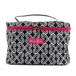 NC70-17-BW-P collapsible makeup bag  Black White Twist, heart
