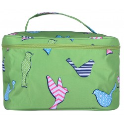 NC70-26-G collapsible makeup bag Green background Multi Bird