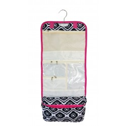 NCB25-18-BW-P Black White Geometric Pattern with Pink Trim Hanging and Folding Organizer Cosmetic Bag