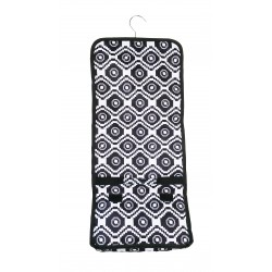 NCB25-18-BW Black White Geometric Pattern Hanging and Folding Organizer Cosmetic Bag