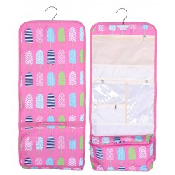 NCB25-25-P Pink Background Multi Popsicle Pattern Hanging and Folding Organizer Cosmetic Bag