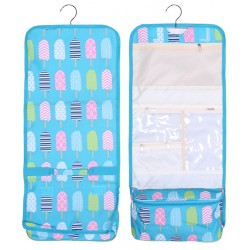 NCB25-25-TO Turquoise background Multi Popsicle Pattern Hanging and Folding Organizer Cosmetic Bag