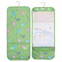 NCB25-26-G Green Background Bird Pattern Hanging and Folding Organizer Cosmetic Bag