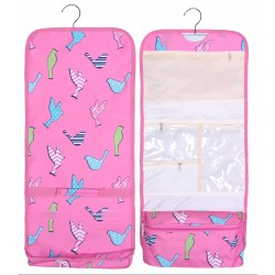 NCB25-26-P Bird Pattern Hanging and Folding Organizer Cosmetic Bag