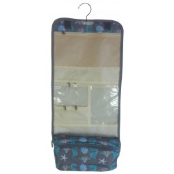 NCB25-32-Grey Seahorse Pattern Hanging and Folding Organizer Cosmetic Bag