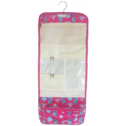 NCB25-32-P Pink Seahorse Pattern Hanging and Folding Organizer Cosmetic Bag