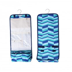 NCB25-36-GB Blue Geometric Pattern Hanging and Folding Organizer Cosmetic Bag