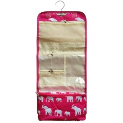 NCB25-E-P Pink White Elephant Pattern Hanging and Folding Organizer Cosmetic Bag