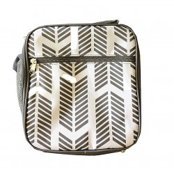 NCC17-22-GREY Superior  Grey Arrow Pattern Insulated Lunch Tote Bag