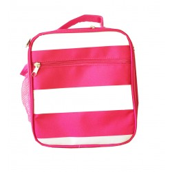 NCC17-23-P Superior Pink Strip Pattern Insulated Lunch Tote Bag
