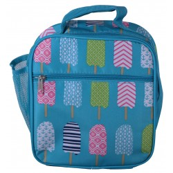 NCC17-25-TO Superior Turquoise Popsicle Pattern Insulated Lunch Tote Bag