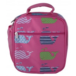 NCC17-27-P Superior Pink New Whale Pattern Insulated Lunch Tote Bag