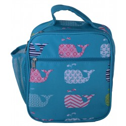 NCC17-27-TO Superior Turquoise New Whale Pattern Insulated Lunch Tote Bag