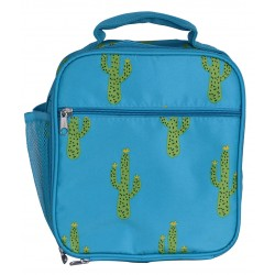NCC17-28-TO Superior Turquoise Cactus Pattern Insulated Lunch Tote Bag