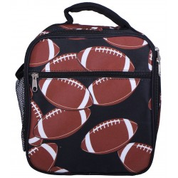 NCC17-31 Superior Brown Football Pattern Insulated Lunch Tote Bag