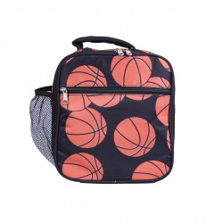 NCC17-32 Superior Brown Basketball Pattern Insulated Lunch Tote Bag