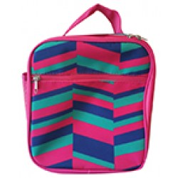 NCC17-36-PBG Superior Pink Geometric Pattern Insulated Lunch Tote Bag