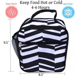 NCC17-36-YB Superior Black White Geometric Pattern Insulated Lunch Tote Bag