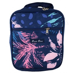 NCC17-52 Superior Blue Tree Leaf Pattern Insulated Lunch Tote Bag