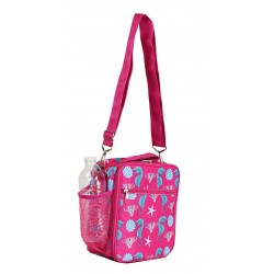 NCC17S-32-P Superior Pink SeahorsePattern Insulated Lunch Tote Bag With Strip