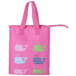 NCC18-27-P Pink Background Multi whale Pattern Insulated Lunch Tote Bag