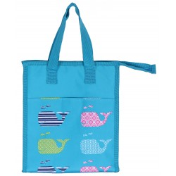 NCC18-27-TO Turquoise background Multi Popsicle Pattern Insulated Lunch Tote Bag