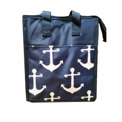 NCC18-A-NW Navy White Anchor Pattern Insulated Lunch Tote Bag