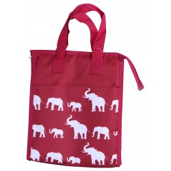 NCC18-E-WB-1 Burgundy White Elephant Pattern Insulated Lunch Tote Bag