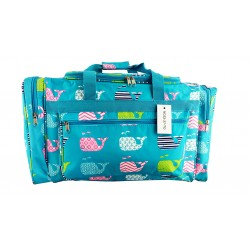 "ND22-27-TO Turquoise background Multi Whale 21"" Duffel Bag"