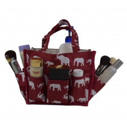 NHY009-E-WB-1 Fashion Burgundy White Elephant Pattern Caddy ,Bingo Bag, Diaper bag  Cosmetic Organizer Tote Bag