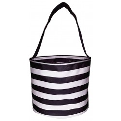 NH80-23-BW Black White Strip Pattern Easter Basket Bag, gift basket bag