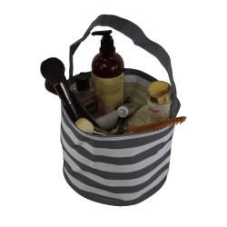 NH80-23-GREY Grey White Strip Pattern Trick or Treat Bag, Easter Basket Bag, gift basket bag