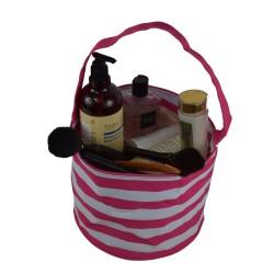 NH80-23-P Pink White Strip PatternTrick or Treat Bag, Easter Basket Bag, gift basket bag