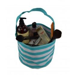 NH80-23-TO Turqulose White Strip PatternTrick or Treat Bag,  Easter Basket Bag, gift basket bag