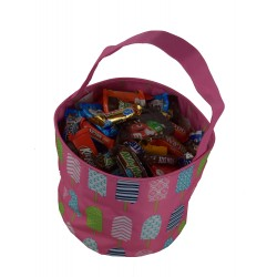 NH80-25-P Pink Popsicle Pattern Trick or Treatbag, Easter Basket Bag, gift basket bag