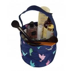 NH80-26-BL Blue Background Multi Bird PatternTrick or Treat Bag,  Easter Basket Bag, gift basket bag