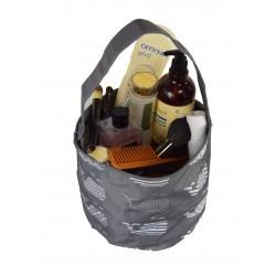 NH80-27-GREY Grey Background Multi Whale Pattern Trick or Treat Bag, Easter Basket Bag, gift basket bag