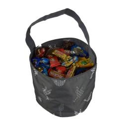 NH80-26-Grey Grey White Background Multi Bird Pattern Trick or Treat Bag,  Easter Basket Bag, gift basket bag
