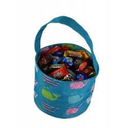NH80-27-TO Turquoise Background Multi Whale Pattern Trick or Treat Bag, Easter Basket Bag, gift basket bag