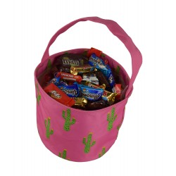 NH80-28-P Pink Background Cuctus Pattern Trick or Treat Bag, Easter Basket Bag, gift basket bag