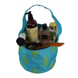 NH80-28-TO Turquoise Background Cuctus Pattern Trick or Treat Bag, Easter Basket Bag, gift basket bag