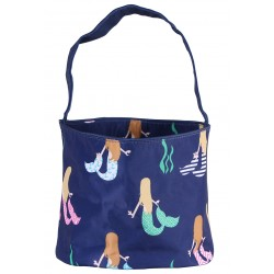 NH80-29-BL Blue Background Mermaid Pattern Easter Basket Bag, gift basket bag