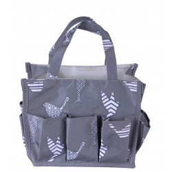 NHY009-26-Grey Fashion Grey White Bird Pattern Caddy ,Bingo Bag, Diaper bag  Cosmetic Organizer Tote Bag